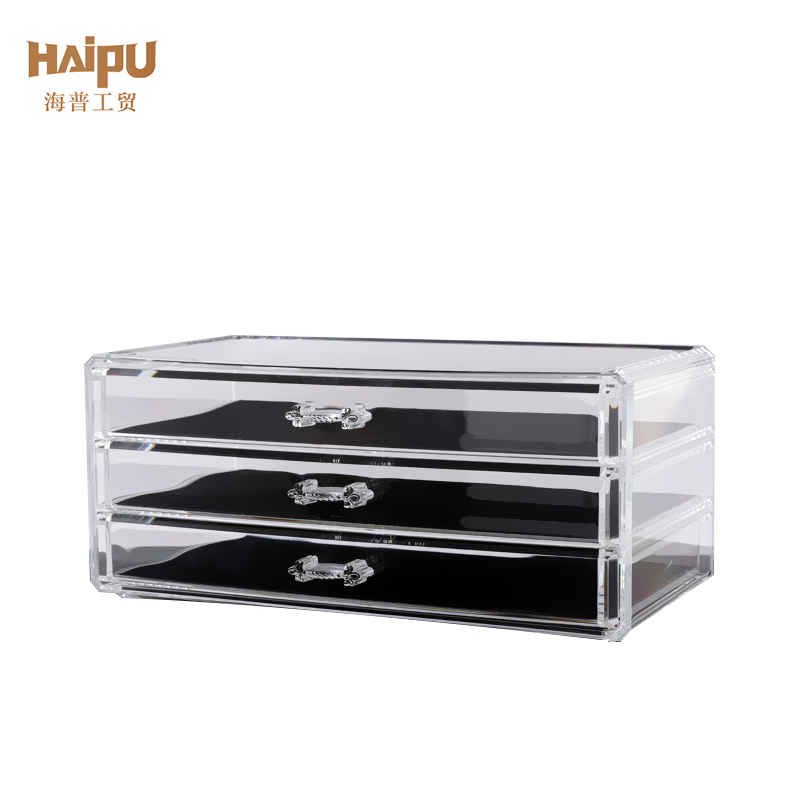 Factory directly sell plastic cosmetic /jewelry organizer/makeup holder/storage /transparent PS makeup box