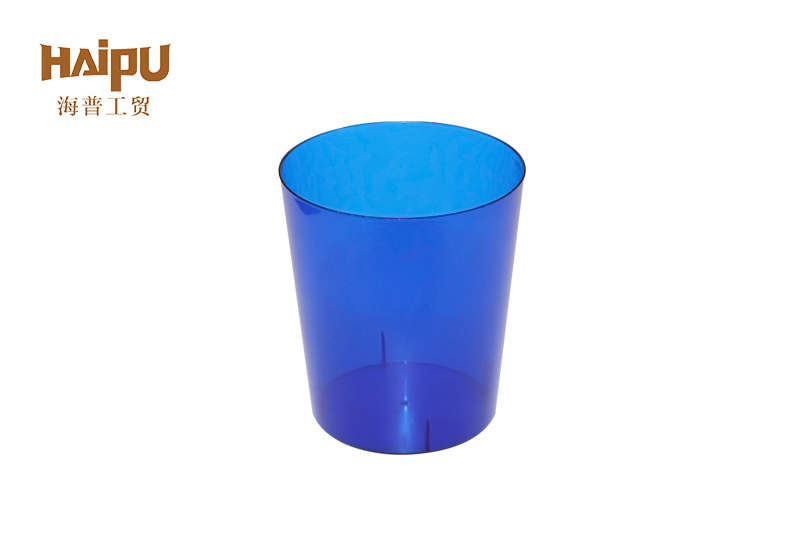 Custom Logo Transparent Blue Cylindrical Round Clear Plastic Cup Disposable
