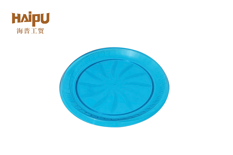 Large round hotel restaurant plastic serving round swirl blue tray