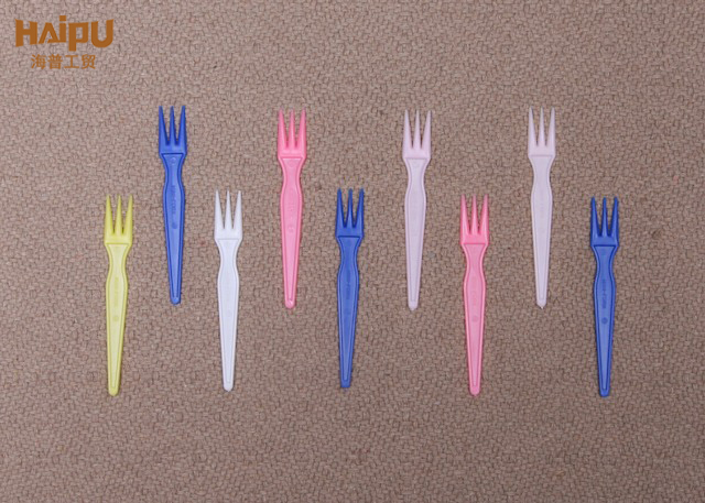 Factory Price Multicolor Disposable Plastic Mini Fork For Fruit Cake